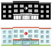 医疗概念 在平的样式的白色背景隔绝的另外亲切的回教医院大厦:色的和黑剪影 皇族释放例证