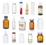医疗瓶和一次用量的针剂收藏 免版税库存照片