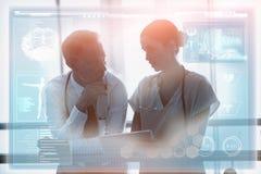 医疗生物接口的综合图象在蓝色3d的 图库摄影