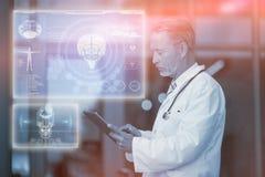医疗生物接口的综合图象在蓝色3d的 免版税库存照片