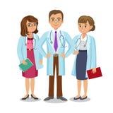 医疗队 有听诊器、男人和妇女的三位医生 库存图片