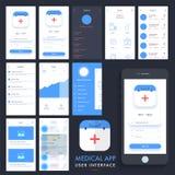 医疗App UI, UX和GUI成套工具 库存图片
