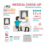 医疗sheckup infographic平的设计 免版税库存照片