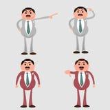 疯狂的上司商人动画片传染媒介集合 免版税库存图片