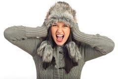 疯狂的冬天妇女 免版税库存照片