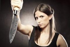 疯狂的凶手妇女 免版税库存照片