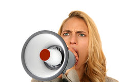 疯狂的叫喊的妇女 免版税库存照片
