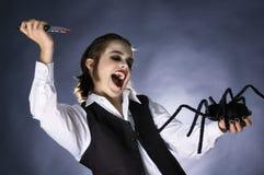 疯狂的吸血鬼男孩准备刺中蜘蛛 免版税库存照片