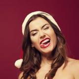 疯狂的圣诞老人妇女 免版税图库摄影