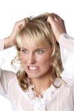疯狂的妇女年轻人 免版税库存照片