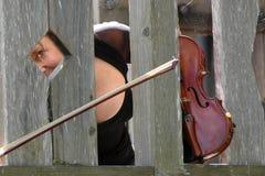 疯狂的小提琴手 库存图片