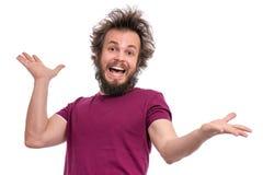 疯狂的有胡子的人情感和标志 免版税库存图片