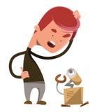 疯狂的机器人技术例证漫画人物 免版税图库摄影