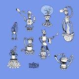 疯狂的机器人 厨房 免版税库存照片