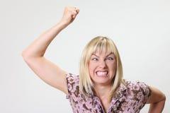 疯狂的滑稽的妇女画象  免版税图库摄影