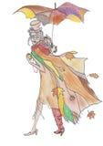 疯狂的秋天 手绘画颜色剪影 向量例证