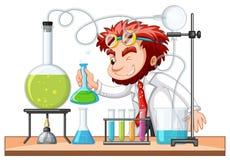 疯狂的科学家在实验室混合化学制品 库存例证