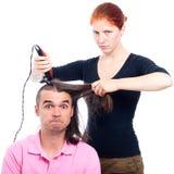 疯狂的美发师 免版税库存照片