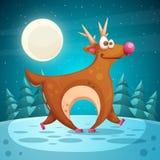 疯狂的鹿 动画片冬天风景 皇族释放例证