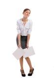 疲乏的办公室夫人。 空白背景 免版税库存照片