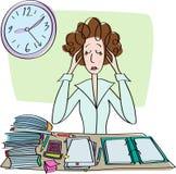 疲乏的哀伤的妇女在办公室 免版税库存图片