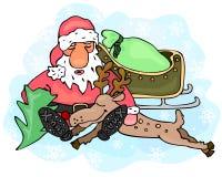 疲乏的圣诞老人和驯鹿 免版税库存照片
