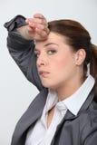 疲乏的女实业家 图库摄影