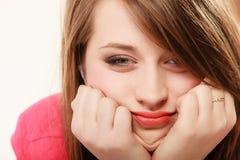 疲乏的妇女的面孔使女孩大学生不耐烦 免版税库存照片