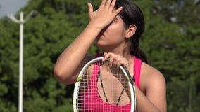 疲乏的运动女性少年网球员 影视素材