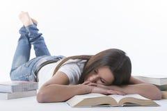 疲倦于家庭作业学习 免版税库存图片
