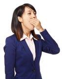 疲倦的亚洲妇女感受 免版税库存照片