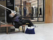 疲倦的旅行家 免版税库存照片
