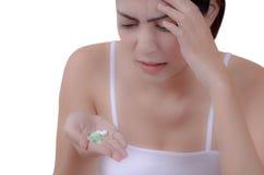 头疼和药片 库存照片