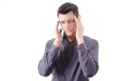 头疼 人和偏头痛 库存照片