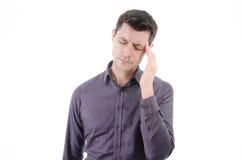 头疼 人和偏头痛 免版税图库摄影