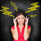 头疼-偏头痛和重音 免版税库存照片