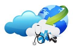 病史与听诊器的存贮概念 库存例证