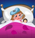 病和哀伤的小女孩在床上 库存照片