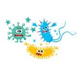 病毒、毒菌、细菌字符与人面和锋利的牙齿 皇族释放例证