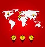 病毒埃伯拉爆发,世界地图传播与生物危险信号 库存例证