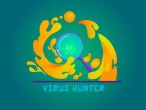 病毒字符和放大镜 免版税图库摄影
