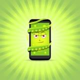病毒巧妙的电话 聪明的电话字符 传染媒介电话例证 巧妙动画片的电话 向量例证