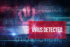 病毒被查出反对与二进制编码的蓝色技术设计 免版税库存照片