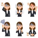病症的六种症状在穿着衣服的职业妇女的 向量例证
