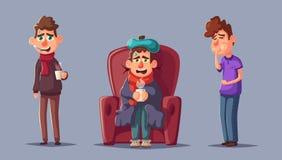 病的人民 不快乐的字符 男孩动画片不满意的例证少许向量 皇族释放例证