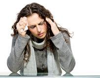 病的妇女。流感 图库摄影