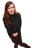 病的妇女胃肠痛苦和腹泻膀胱膀胱炎想要Th 图库摄影