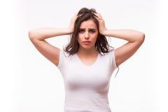 病的妇女遭受头疼,偏头痛, 库存图片
