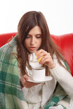 病的妇女年轻人 免版税库存照片