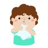 病的男孩流鼻水 免版税库存图片
